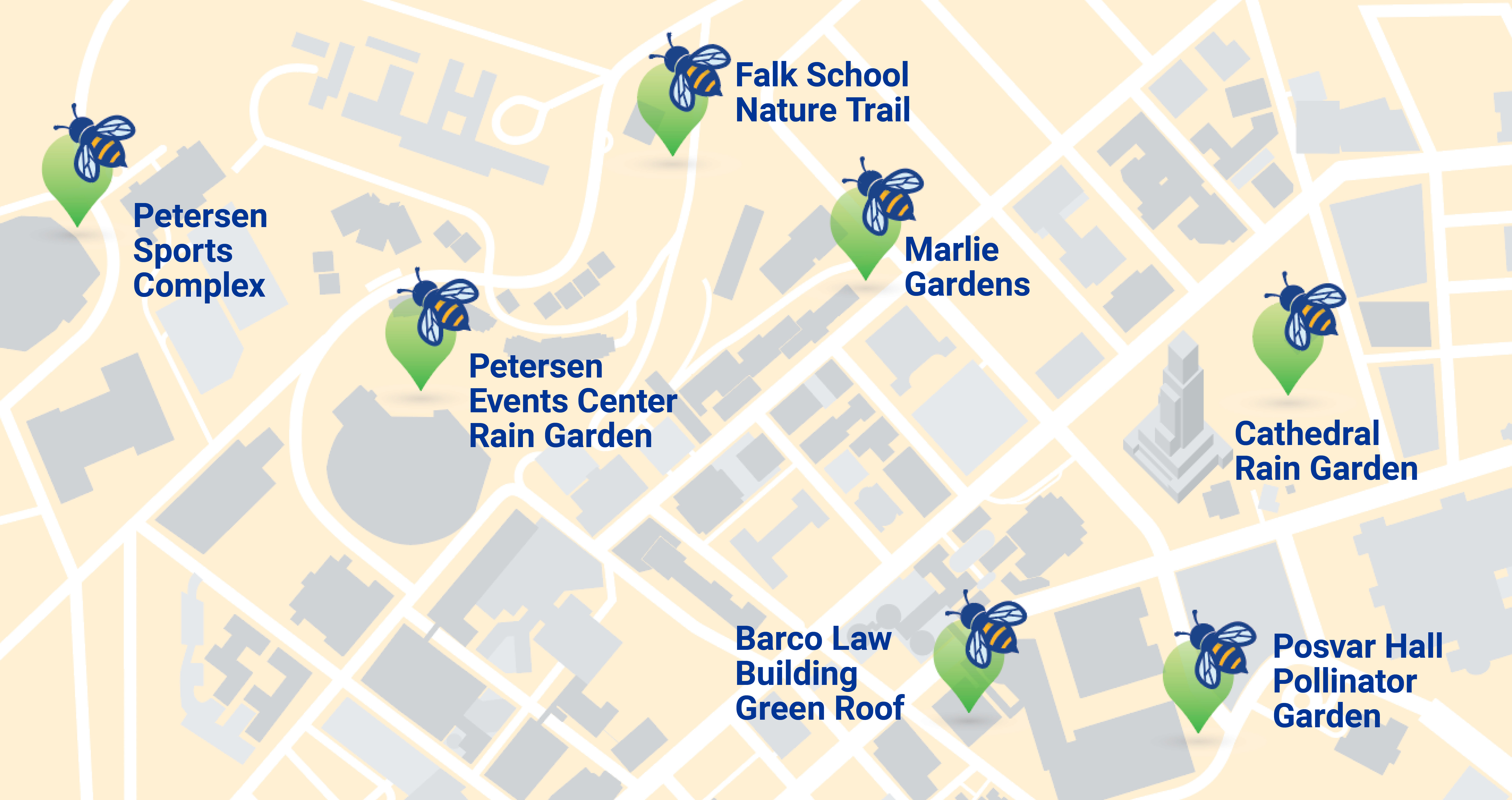 a map of campus with bee icons at the 7 house spots