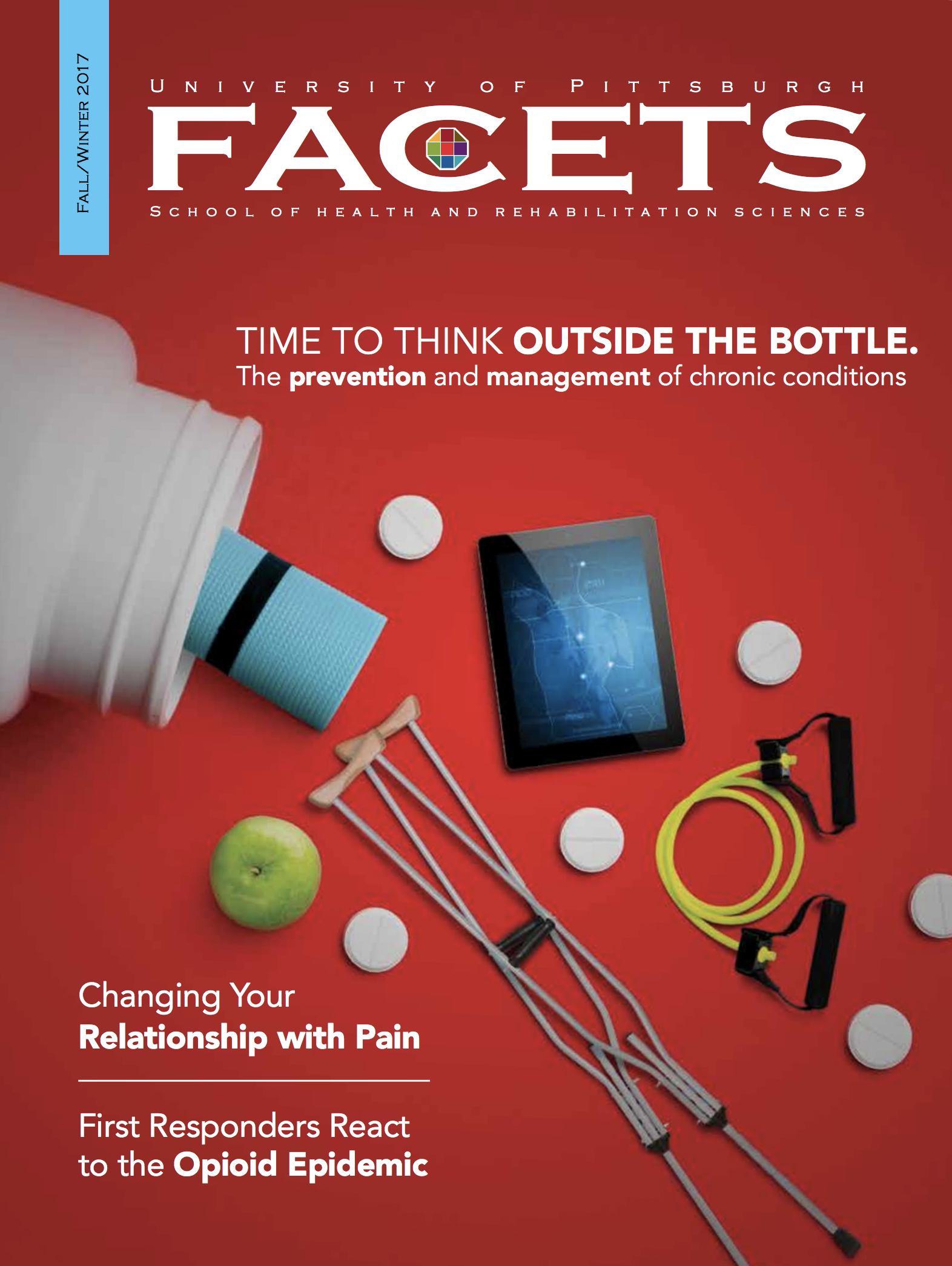 cover of the issue: bright red with pills and bottles and other medical items