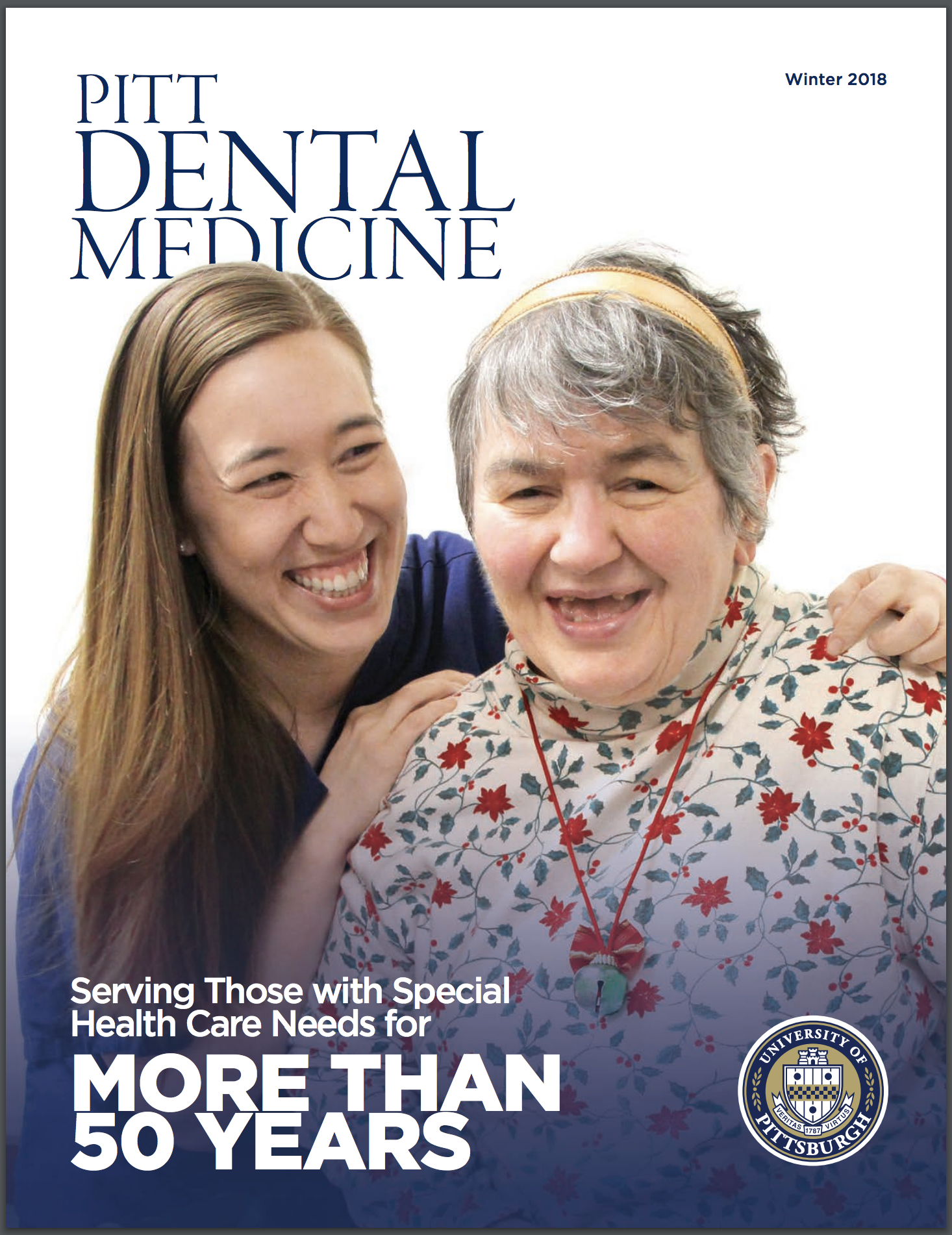 cover of the magazine, which features a female dental student and a patient, both smiling
