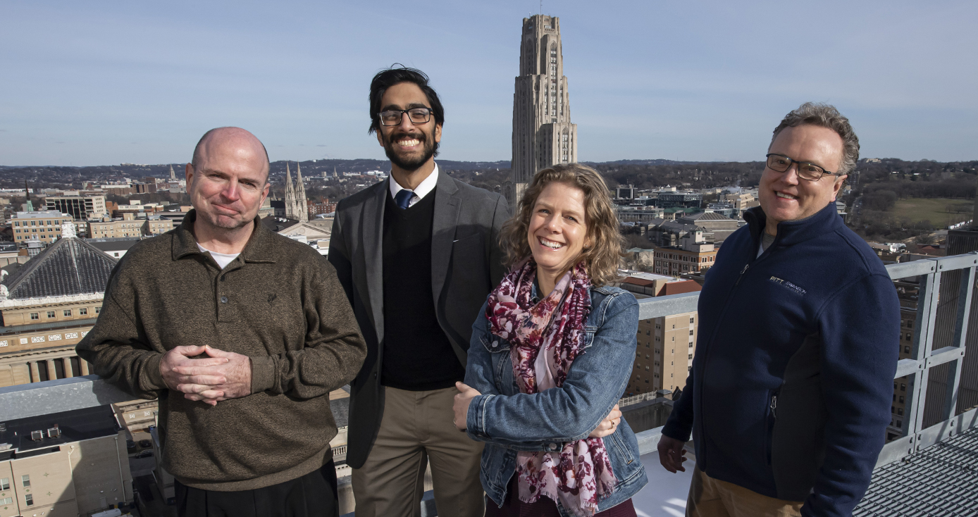 (From left to right): John Donehoo, clinical pharmacist at UPMC and program collaborator; Ravi Patel, lead innovation advisor in the School of Pharmacy; Kerry Empey, associate professor of pharmacy and therapeutics; and David Vorp, associate dean for research and William Kepler Whiteford Professor of Bioengineering.