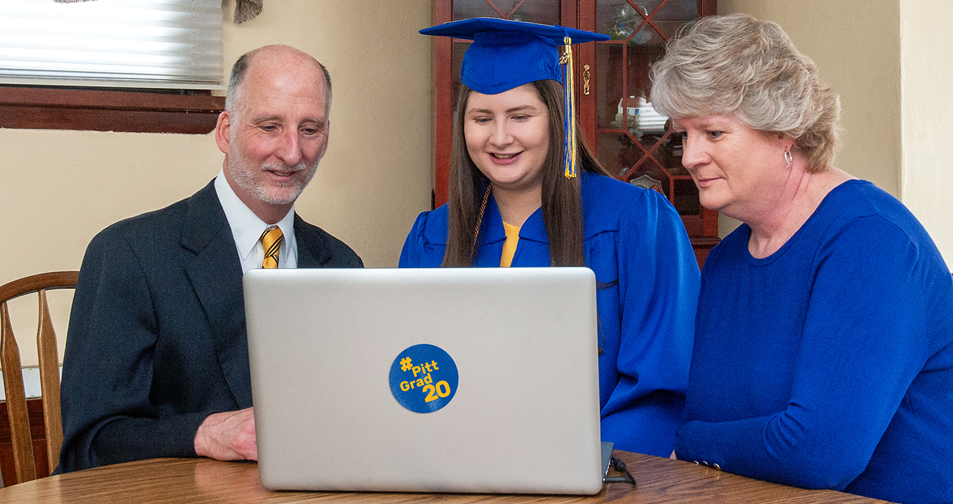 A family watches commencement together online