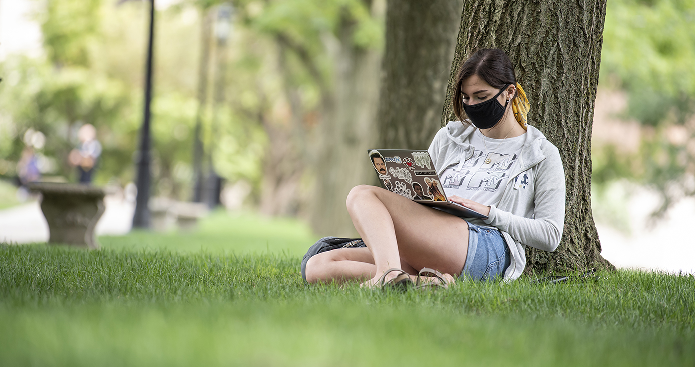 A person in a face mask, a sweater and shorts sitting by a tree, on a laptop