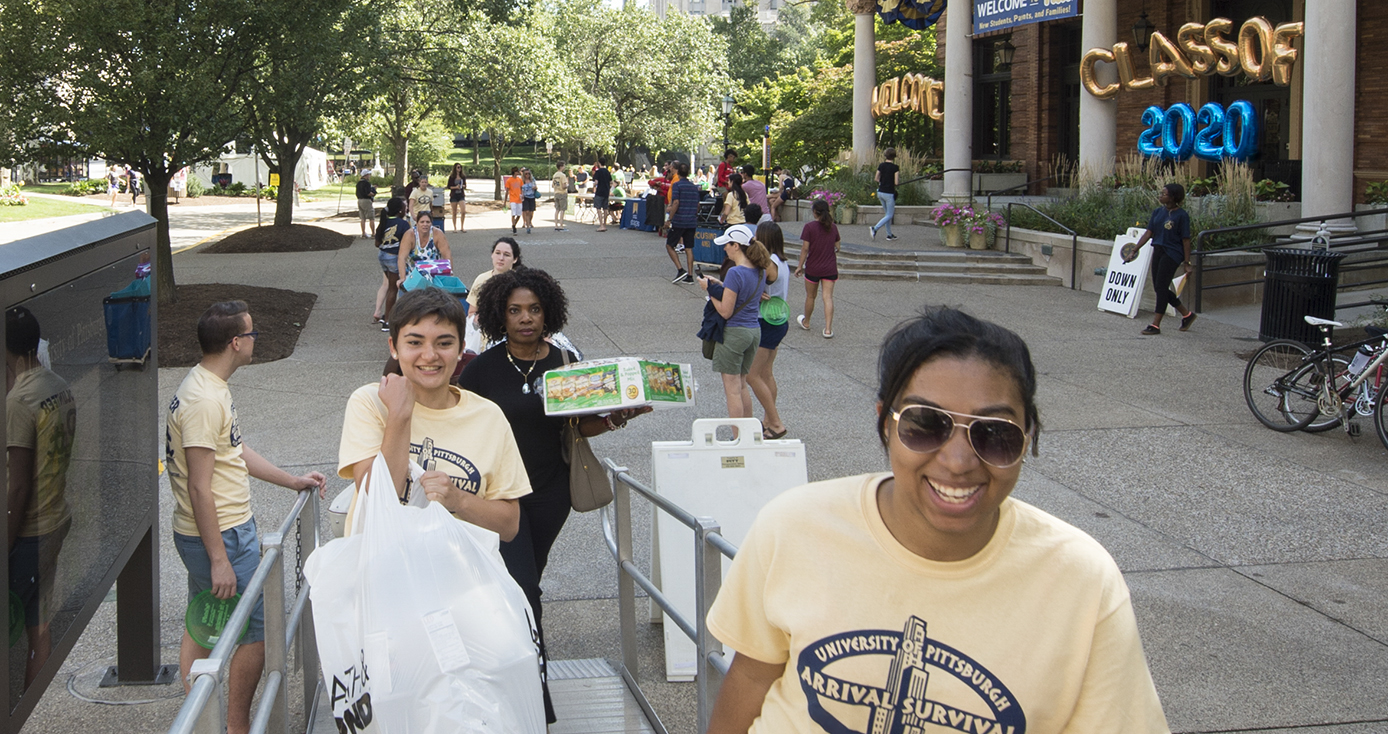 students and volunteers on Pitt campus