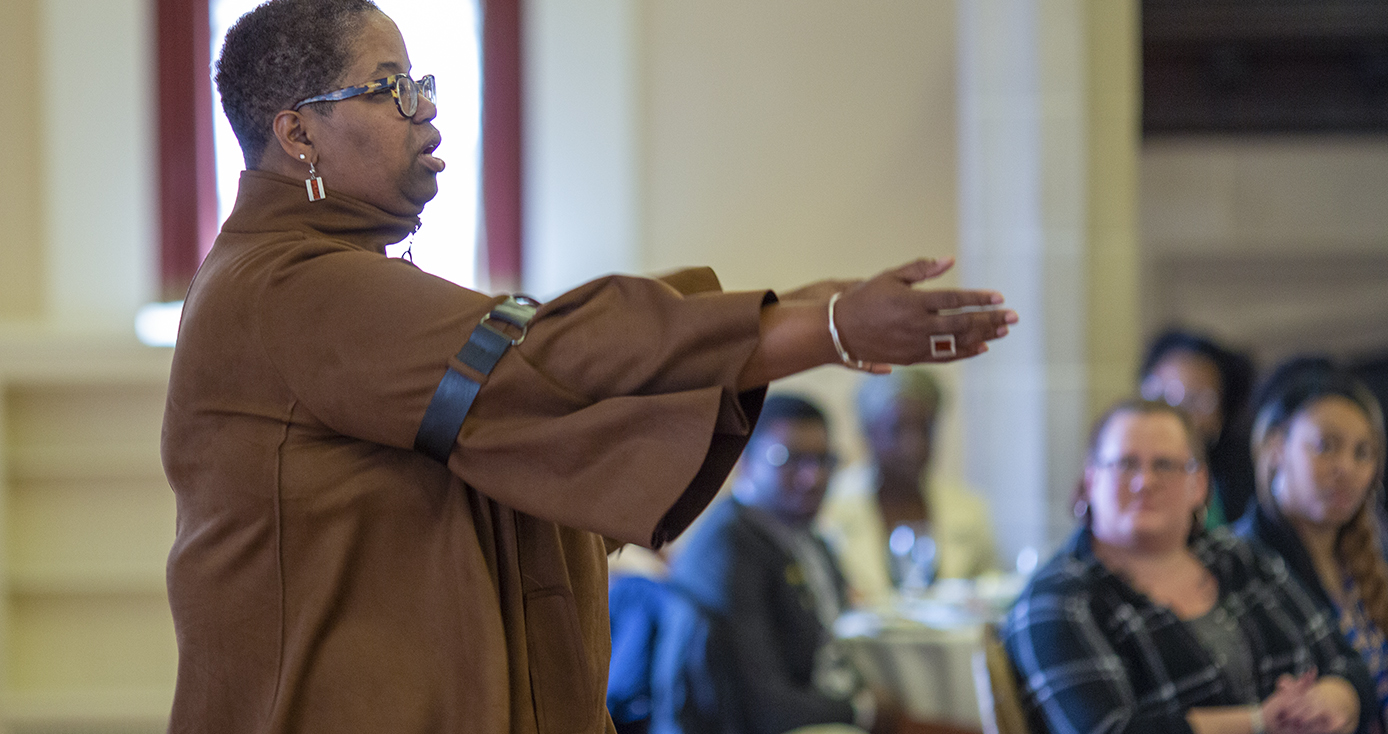 Stephanie Adams, dean of the Eric Jonsson School of Engineering and Computer Science at the University of Texas at Dallas, shared the story of her career path with Pitt students, faculty and staff during a lecture in honor of Black History Month.