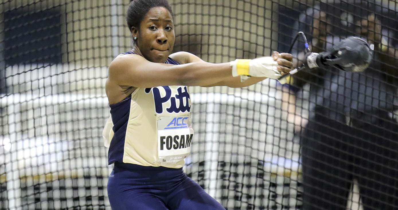 Andin Fosam in Pitt athletics uniform in mid-hammer throw