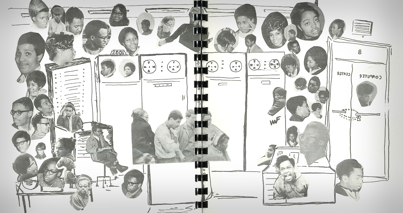 drawing of a computer from the 60s with cut-out photos of black students pasted on top