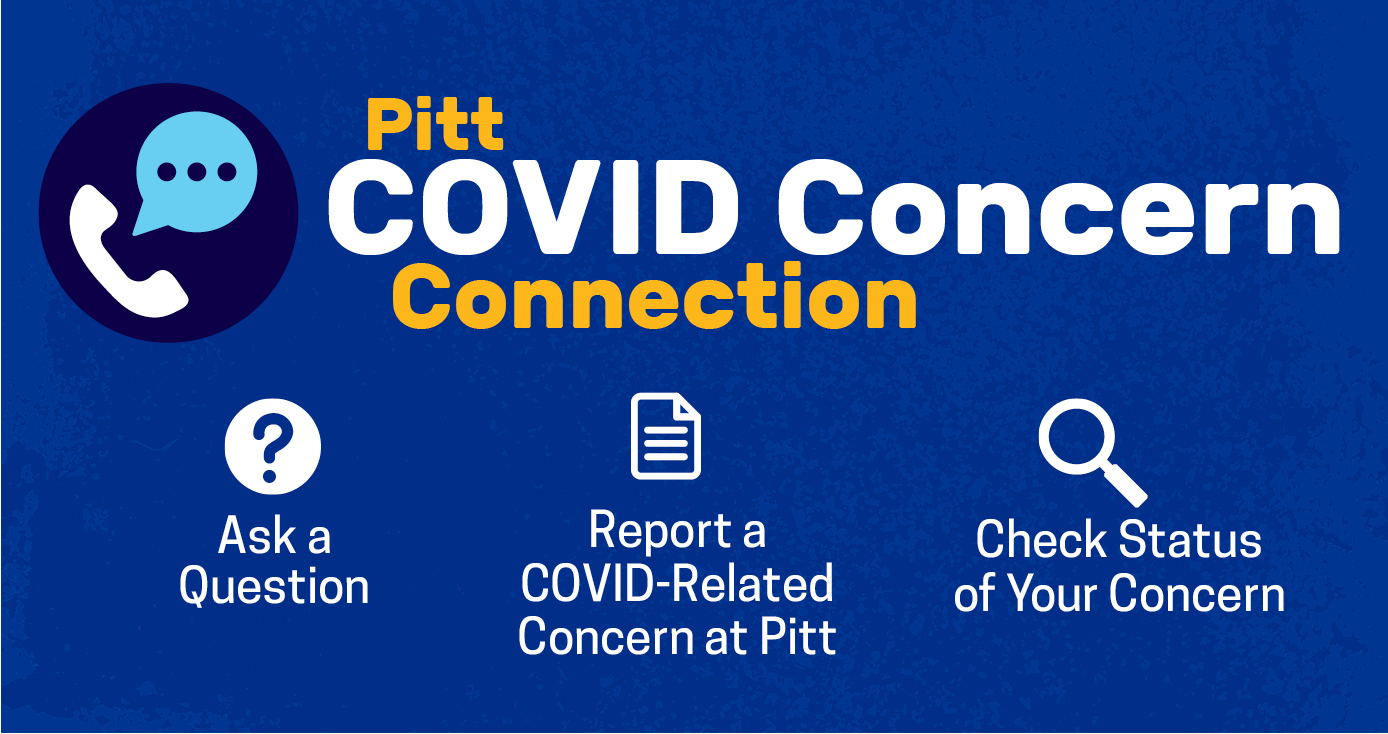 "A blue sign that reads ""Pitt COVID Concern Connection"" with a photo of a telephone next to it"