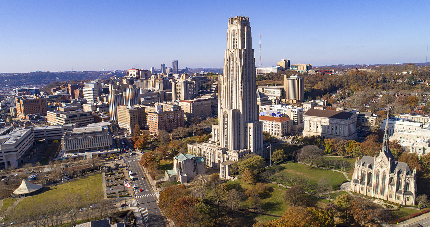 An aerial view of the University of Pittsburgh's Pittsburgh campus