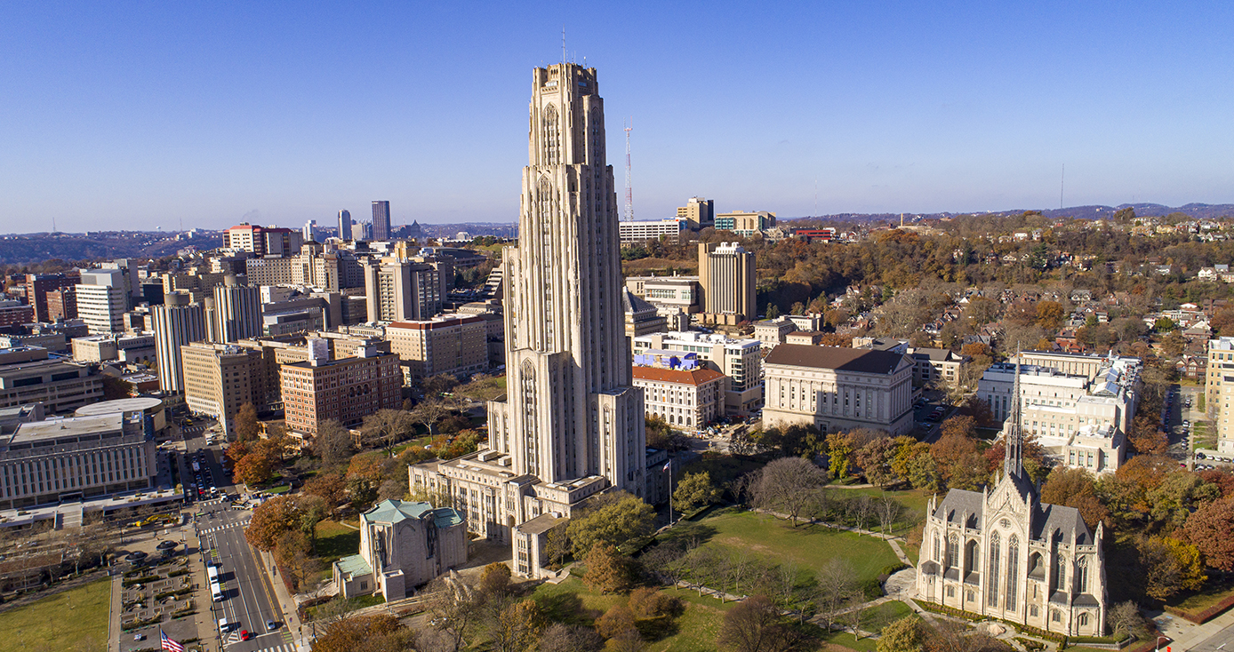 An aerial view of the Cathedral of Learning