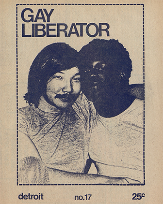The cover of the Gay Liberator, with two men sitting together