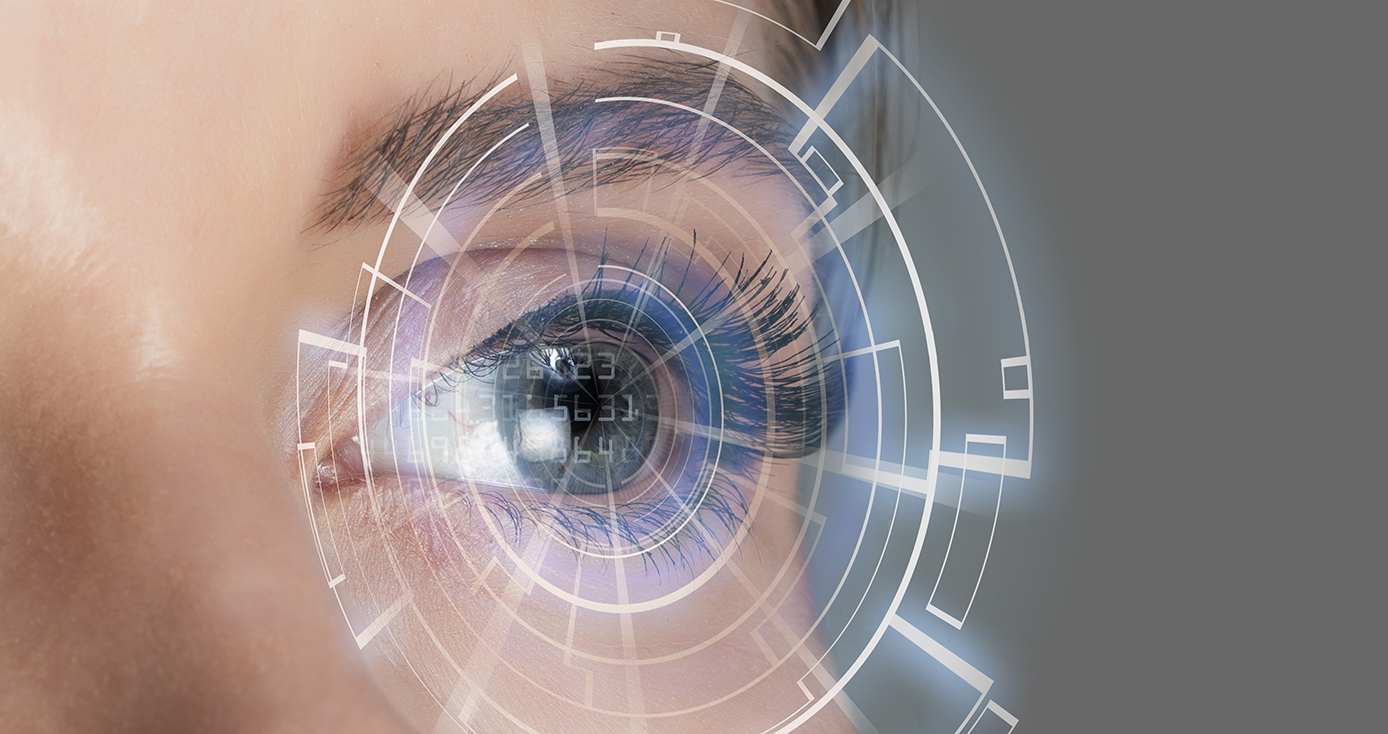 A depiction of an eye with a rendered graphic interface over it