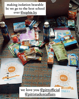 "a photo featuring a plethora of snacks and drinks with text overlaid that says ""making isolation bearable bc we go to the best school ever @sophie.b3"" and another box that says ""we love you @pittofficial @pittstudentaffairs"""