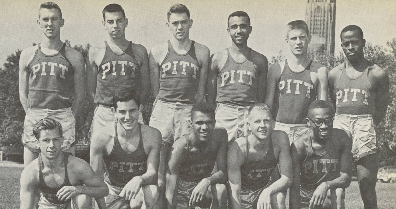 A black and white photo of Perry Jones and his track team while he was at Pitt.