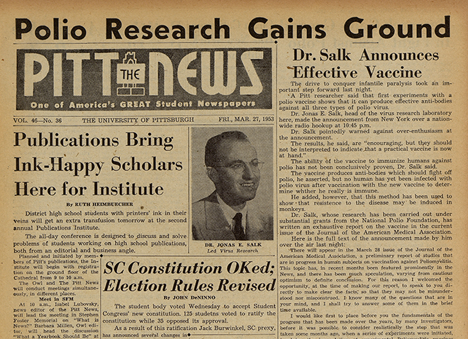 the front page of the March 27, 1953 issue of The Pitt News