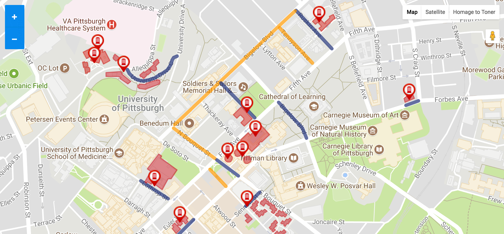 An interactive map available on the Arrival Survival website (http://arrival.pitt.edu/move-in/) to find out exactly how to get to your residence hall, where unloading zones are located, and where long-term parking is available.