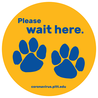 "a yellow and blue graphic that says ""Please wait here."" with two panther paw prints"