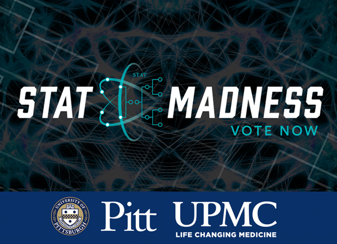 STAT Madness graphic with UPMC and Pitt logos underneath