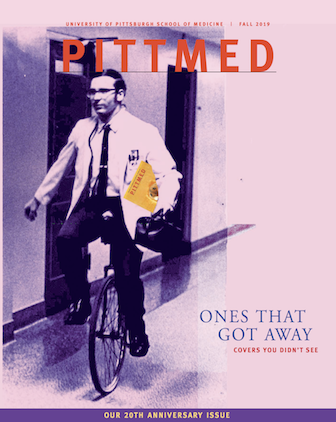 pink cover of Pitt Med magazine, featuring a doctor on unicycle