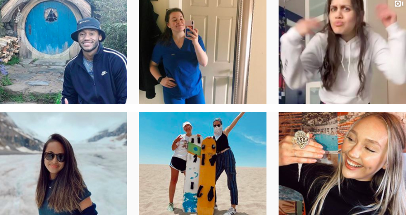 Six student social media ambassadors' posts of themselves in various locations