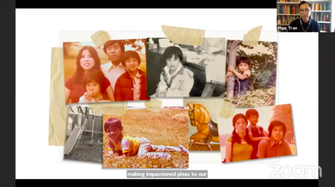 A Zoom screenshot of family photos