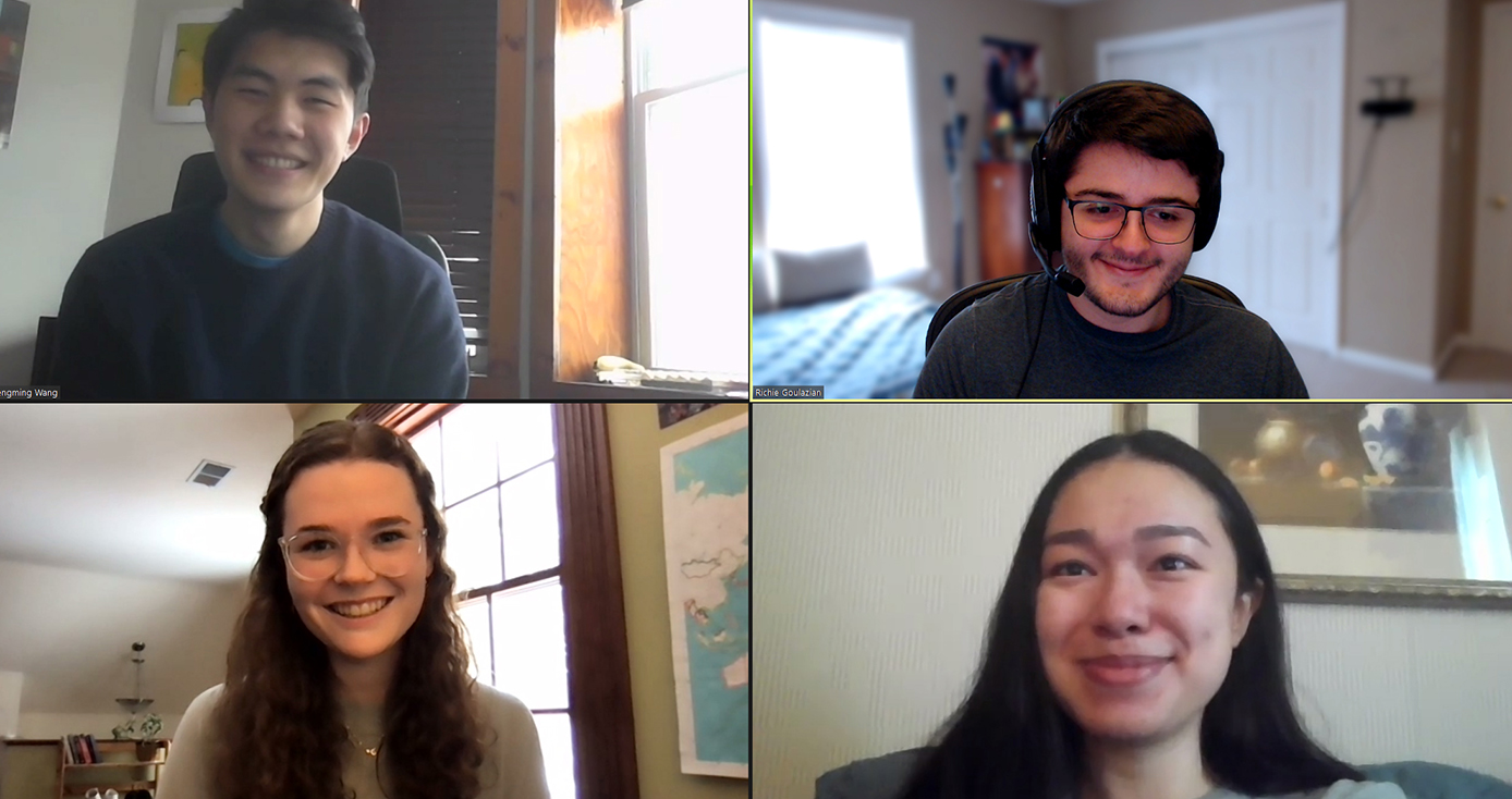 Four students in a virtual video conference call