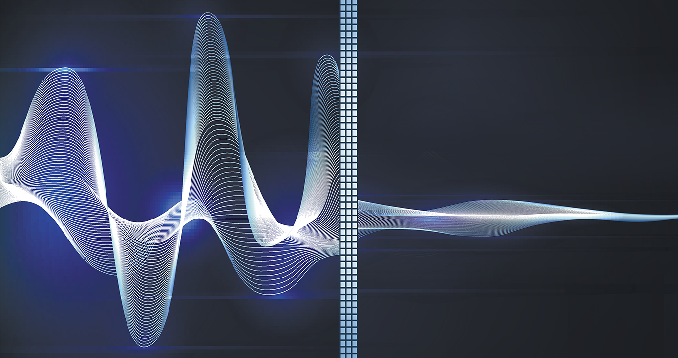 a sound wave on the left that, when it crosses a barrier in the middle, becomes smaller