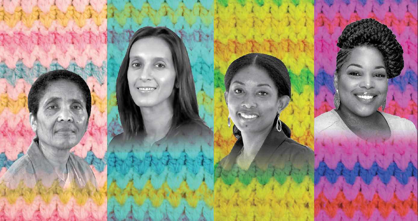 Headshots of (From left) The School of Nursing's Betty Braxter, School of Medicine's Sonya Borrero, Graduate School of Public Health's Dara Mendez and Healthy Start CEO Jada Shirriel artistically composed over a background of a knitted baby blanket in shades of pink, blue and yellow.
