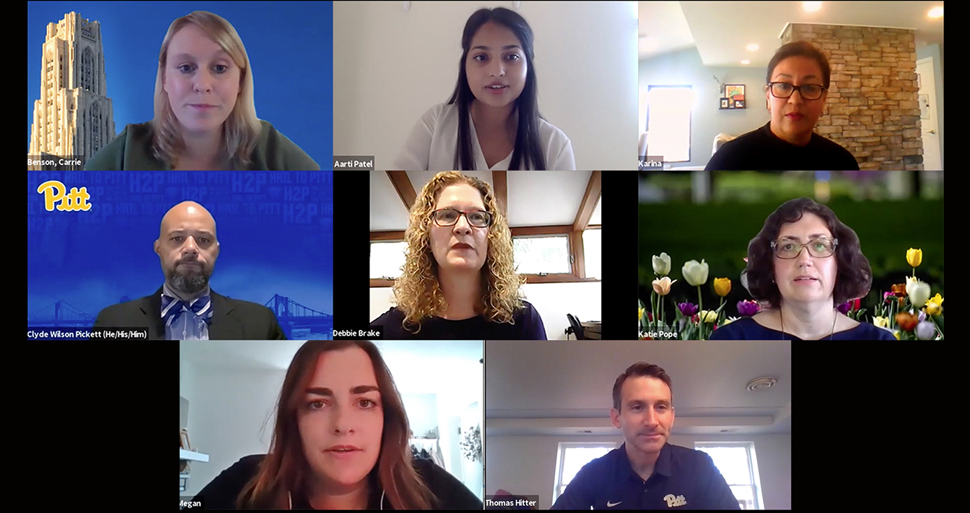 Eight visible participants on a Zoom call