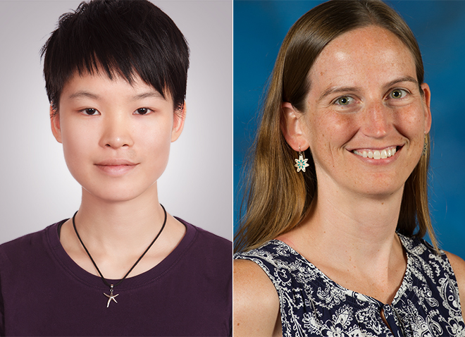 Headshots of Department of Biological Sciences graduate student Yusan Yang (left) and associate professor Corrine Richards-Zawacki