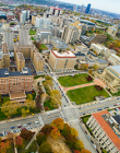 Aerial view of Oakland campus around Fifth avenue
