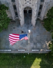 American flag outside the Cathedral of Learning