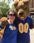 Female Pitt staff member and Roc at 2019 picnic