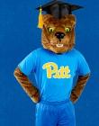 Roc in a graduation cap and a blue Pitt shirt
