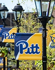 Pitt flags in blue and yellow on lampposts