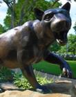 Closeup of bronze panther statue