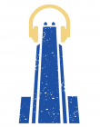 WPTS logo, a blue image of the Cathedral of Learning with yellow headphones