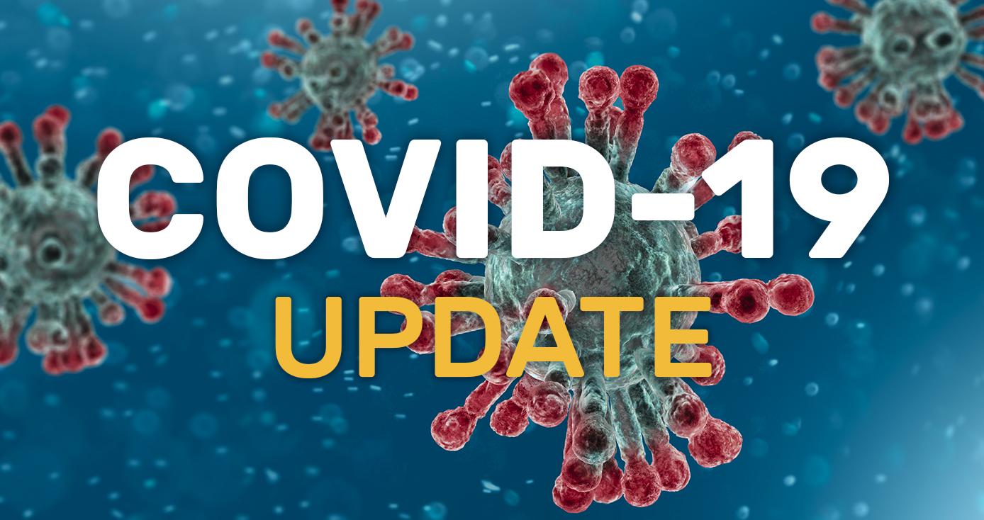 Text reading: COVID-19 UPDATE WITH IMAGE of virus in red with a blue background
