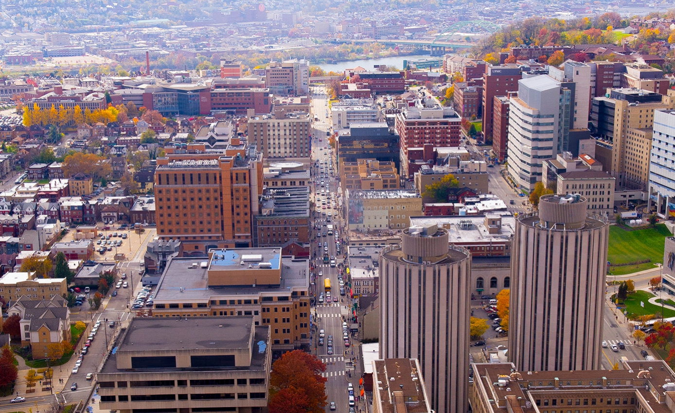 an aerial view of the Pittsburgh campus