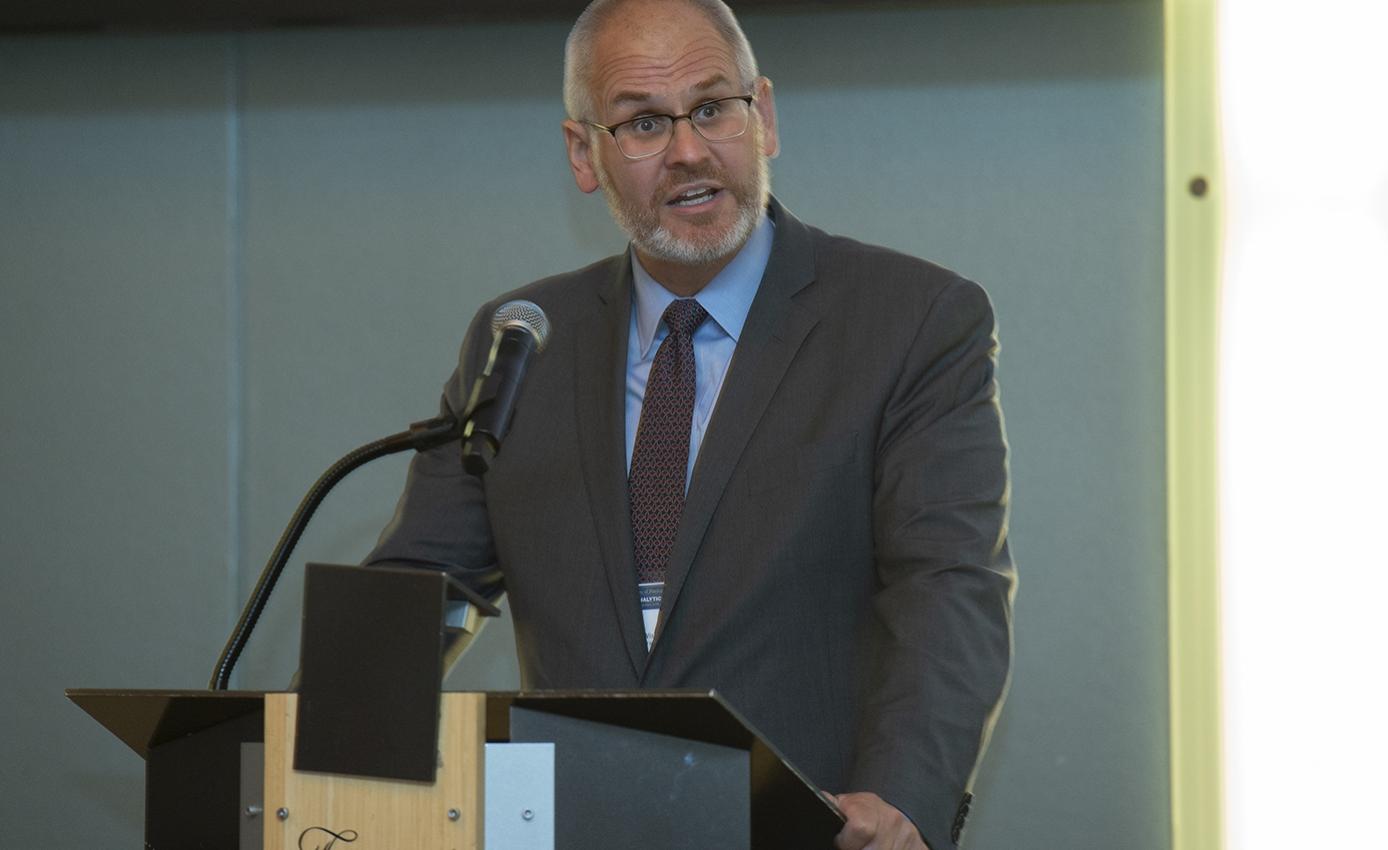 Stephen Wisniewski speaking at the Advanced Analytics Summit.