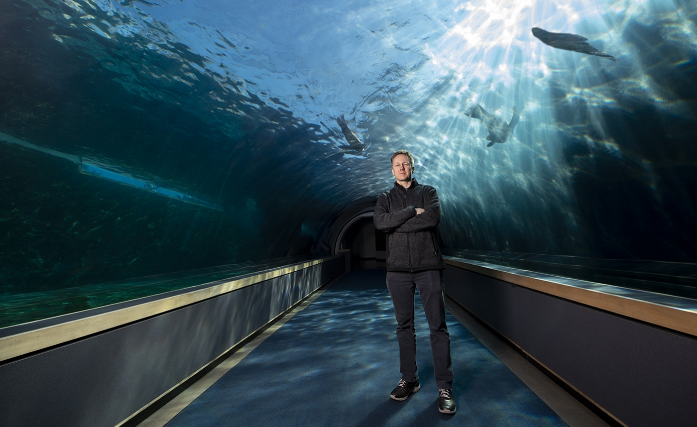 Clark, wearing a dark pullover and pants, standing in an aquarium tunnel with sea life swimming behind him