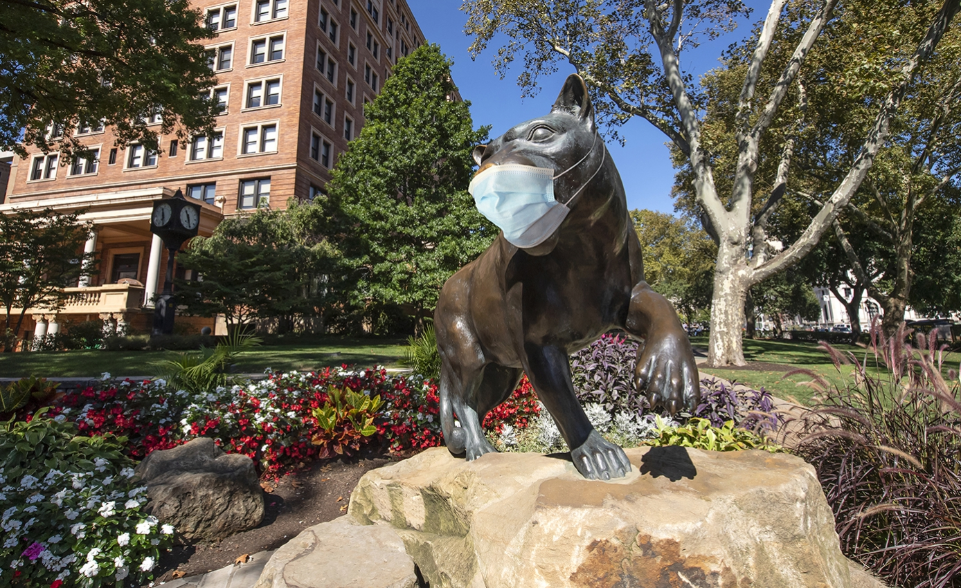 A panther statue with a face mask on