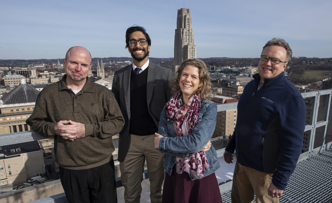 (From left): John Donehoo, clinical pharmacist at UPMC and program collaborator; Ravi Patel, lead innovation advisor in the School of Pharmacy; Kerry Empey, associate professor of pharmacy and therapeutics; and David Vorp, associate dean for research and William Kepler Whiteford Professor of Bioengineering.