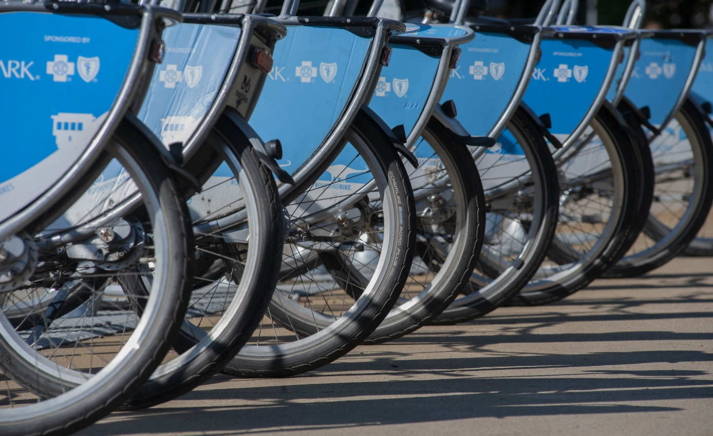 A row of blue colored bicycles