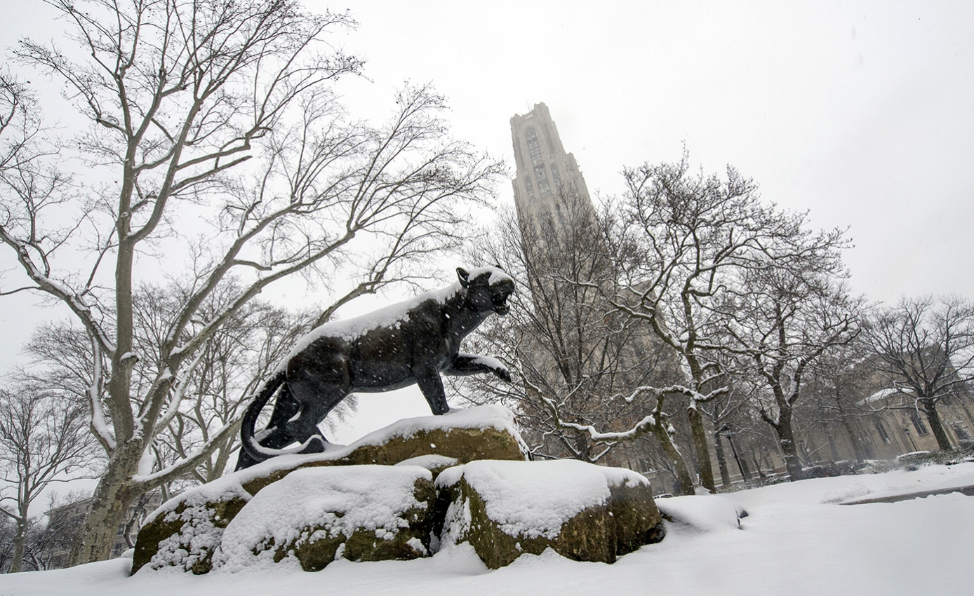 A panther statue in front of the Cathedral of Learning, covered in snow
