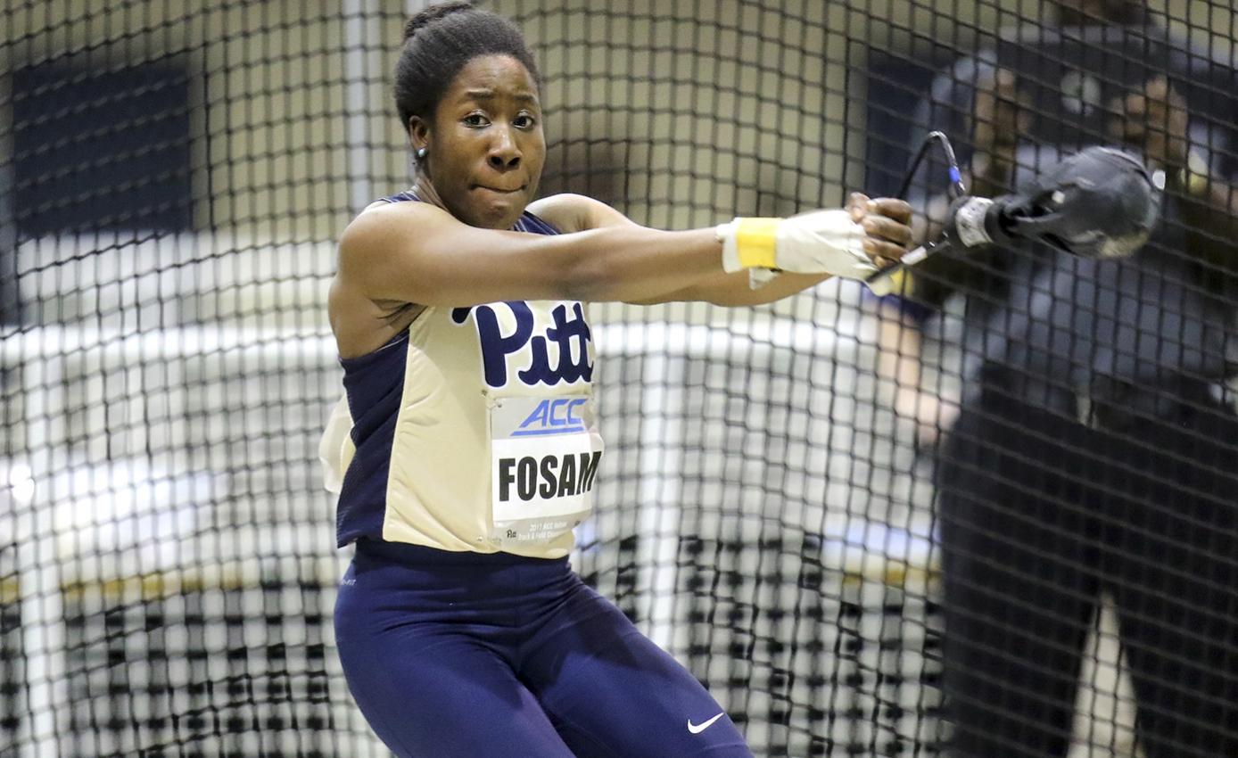 Andin Fosam in Pitt athletics uniform in mid-hammer throw