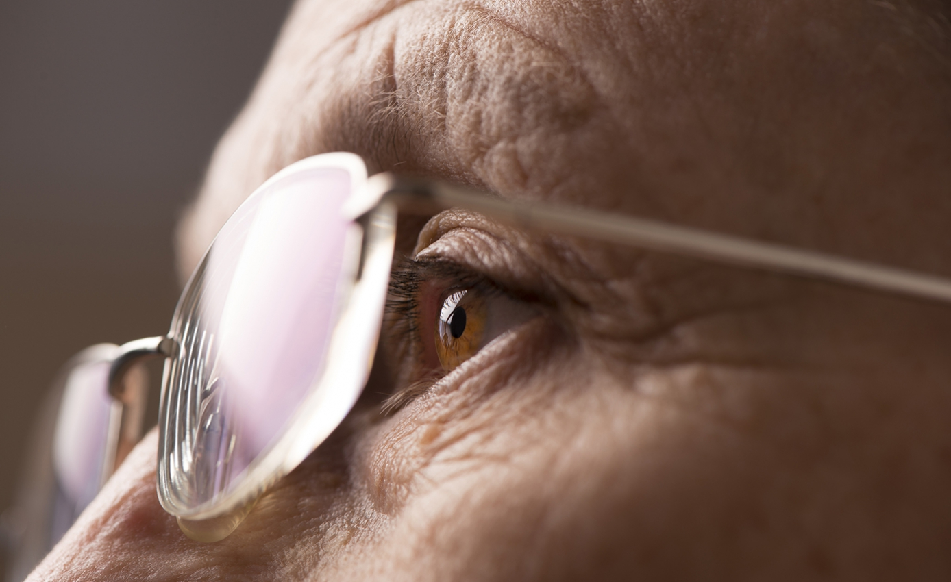 A closeup of glasses and an eye