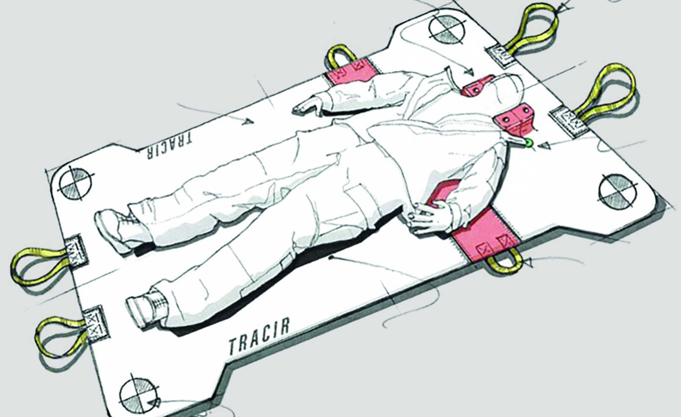 a sketch of the backpack unfolded, when it is used as a stretcher