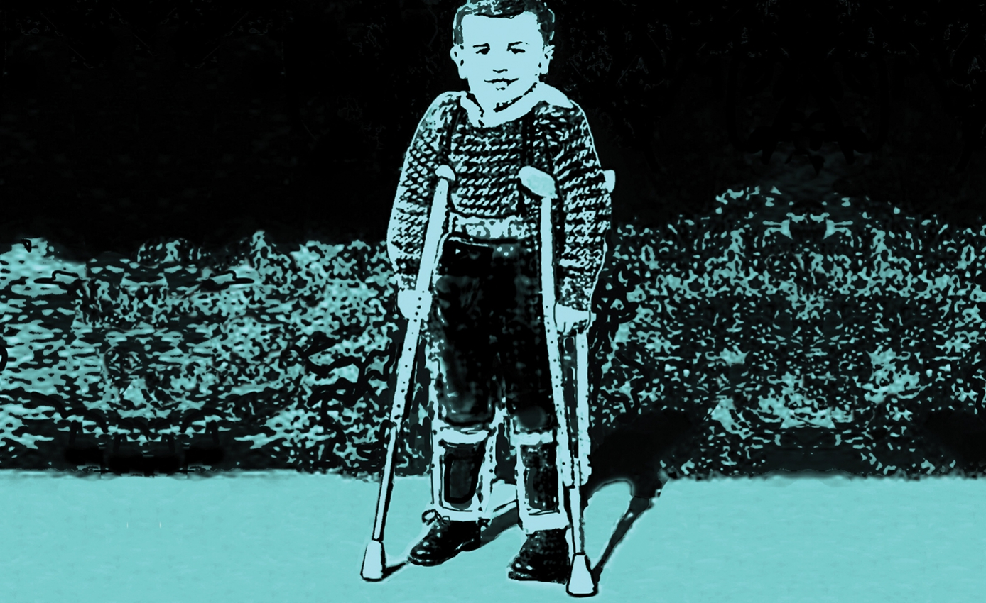 Illustration in blue and black duotone of young boy in wearing leg braces and using crutches