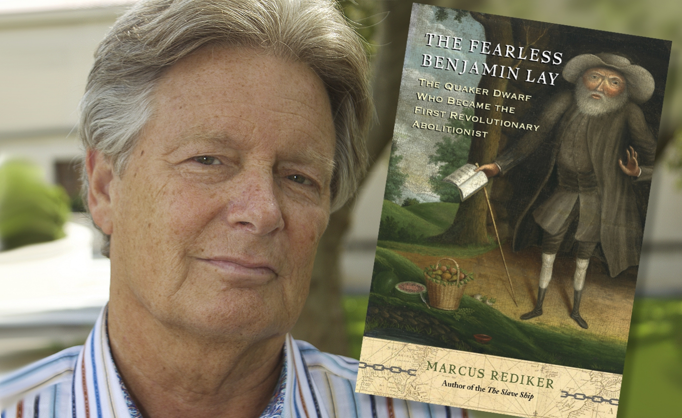 Rediker in a striped collar shirt with his book cover superimposed on the photo to his right