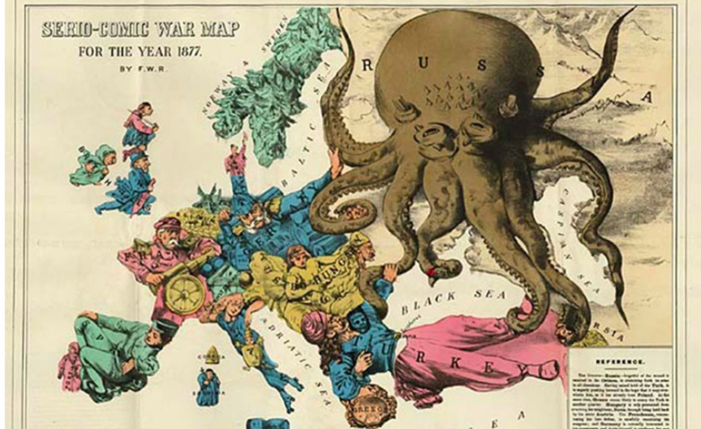 An artist's depiction of a map with an octopus stretching over the Black Sea and Russia